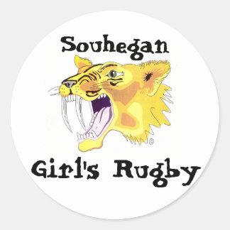 logotipo del sable de los shs, Souhegan, el rugbi Pegatina Redonda