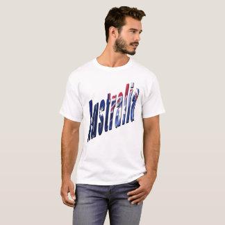 Logotipo dimensional australiano, camiseta blanca