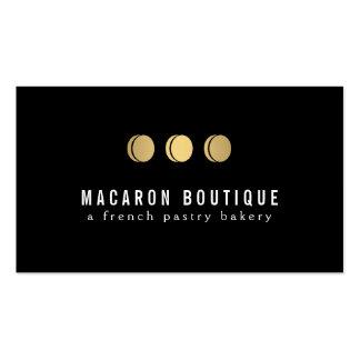 Logotipo elegante del trío de Macaron del oro en Tarjetas De Visita
