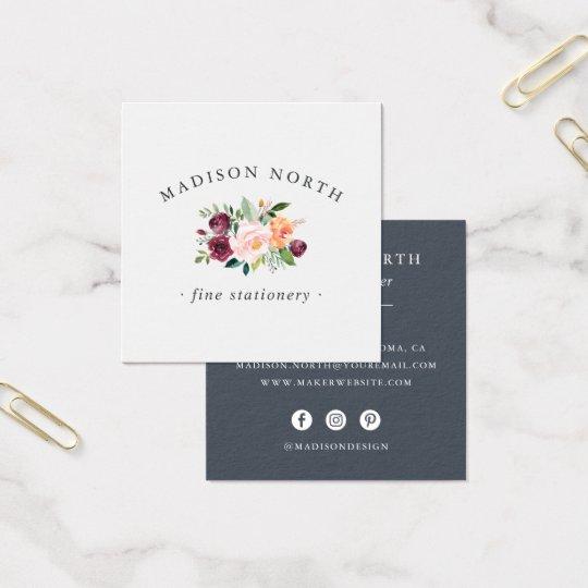 Logotipo floral de la floración el | del otoño tarjeta de visita cuadrada