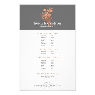 Logotipo floral del oro color de rosa en la lista folleto 14 x 21,6 cm