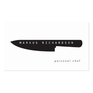 Logotipo grande del cuchillo del cocinero para el  tarjetas de visita