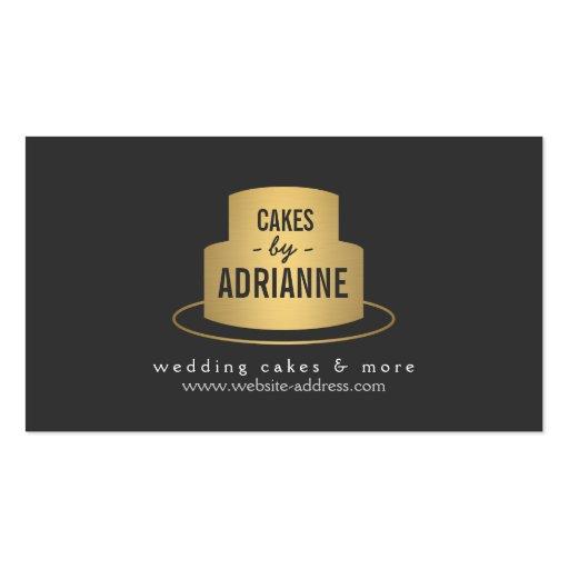 Logotipo II de la torta del oro para la panadería, Plantillas De Tarjetas De Visita
