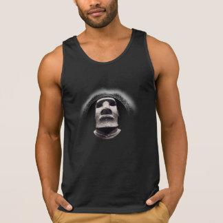 Logotipo negro de descoloramiento de Tiki Moai de Camiseta De Tirantes