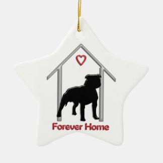 Logotipo negro para siempre casero de Pitbull Ornamentos De Navidad
