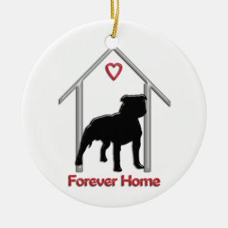Logotipo negro para siempre casero de Pitbull Adorno Navideño Redondo De Cerámica