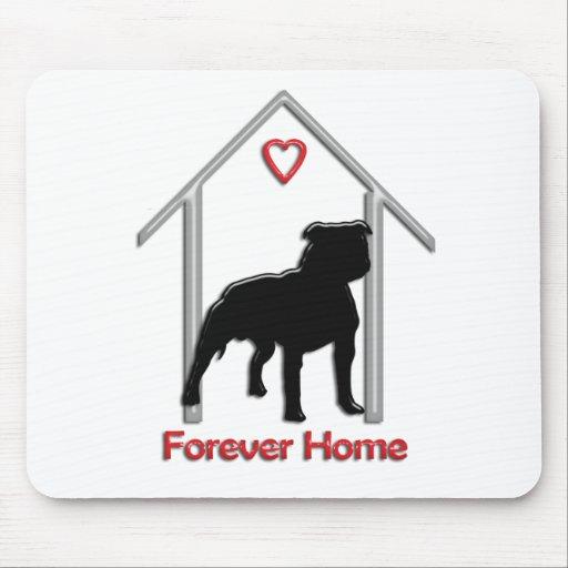 Logotipo negro para siempre casero de Pitbull Tapetes De Raton
