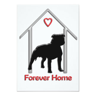 Logotipo negro para siempre casero de Pitbull Invitación 12,7 X 17,8 Cm