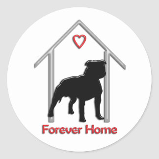 Logotipo negro para siempre casero de Pitbull Etiqueta Redonda