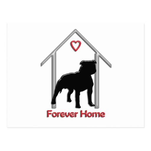 Logotipo negro para siempre casero de Pitbull Tarjeta Postal