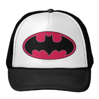 Logotipo negro rojo del símbolo el   de Batman Gorros Bordados