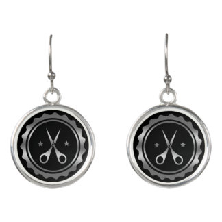 Logotipo negro y de plata del círculo y del pendientes