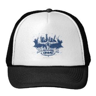 Logotipo oscuro del azul del paisaje urbano del gorras de camionero