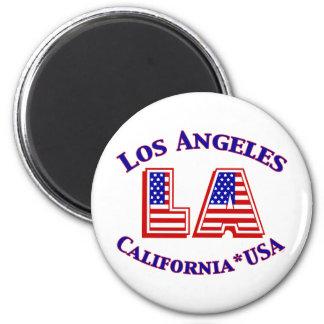 Logotipo patriótico de Los Ángeles los E.E.U.U. Imán Redondo 5 Cm