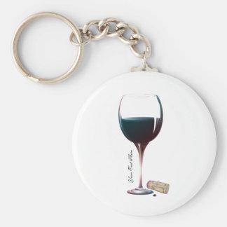 Logotipo personalizado arte de la copa de vino llavero redondo tipo chapa