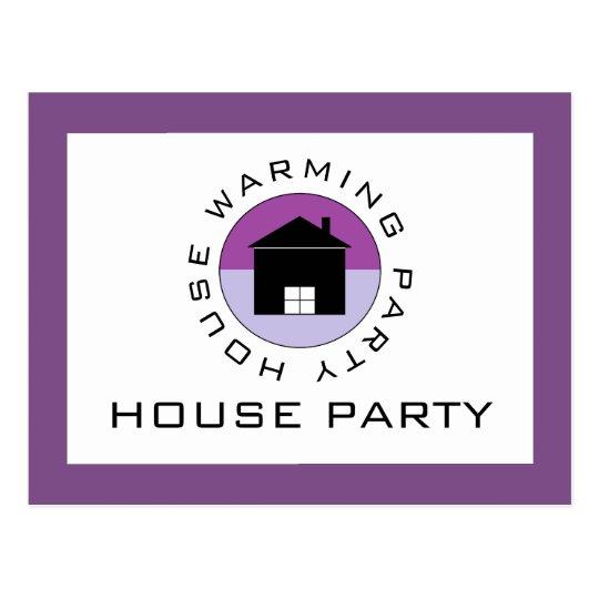 Logotipo púrpura de la casa, invitación del fiesta