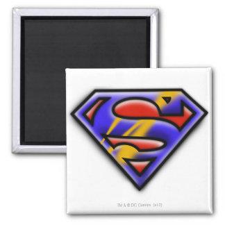 Logotipo púrpura del superhombre del aerógrafo imanes para frigoríficos
