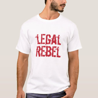 Logotipo rebelde legal del rojo de la camiseta