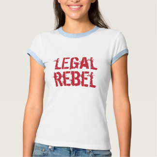 Logotipo rebelde legal del rojo del t del camisetas