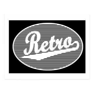 Logotipo retro de la escritura en blanco postal