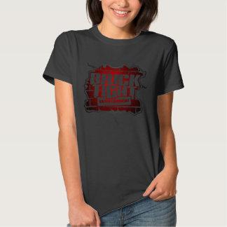 Logotipo rojo en frente camisetas