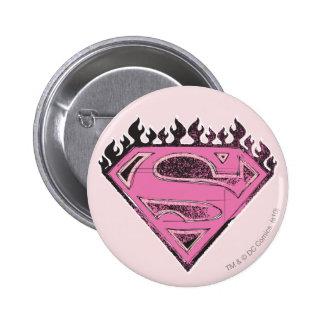 Logotipo rosado de Supergirl con las llamas Chapa Redonda De 5 Cm