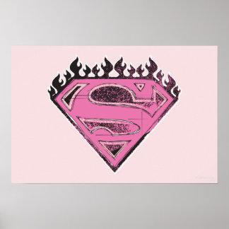 Logotipo rosado de Supergirl con las llamas Póster