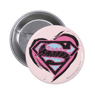 Logotipo rosado de Supergirl en corazón Chapa Redonda De 5 Cm