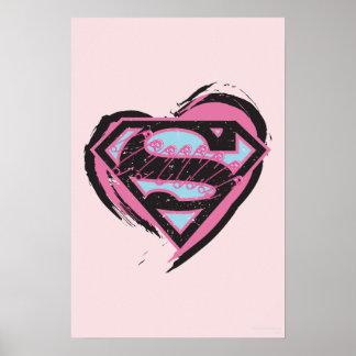 Logotipo rosado de Supergirl en corazón Póster