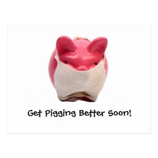 Logotipo rosado del enfermo del cerdo postal