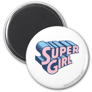 Logotipo rosado y azul de Supergirl Imán Redondo 5 Cm