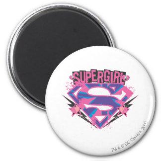 Logotipo rosado y púrpura de Supergirl del Grunge Imán Redondo 5 Cm