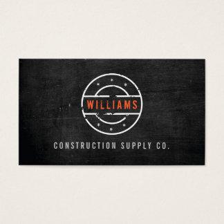 Logotipo sellado rústico en la construcción de tarjeta de visita