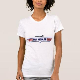 Logotipo superior de la mujer camiseta