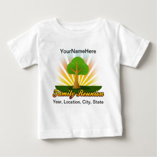 Logotipo verde de la reunión de familia del árbol camiseta para bebé