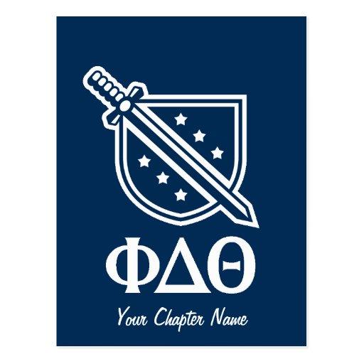 Logotipo y letras apilados - azul y blanco postales