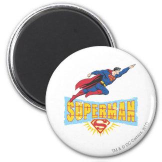 Logotipo y vuelo del superhombre imán redondo 5 cm