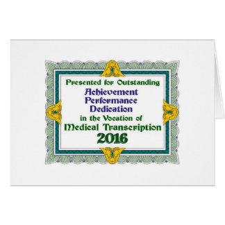 Logro médico 2016 de la transcripción tarjeta de felicitación
