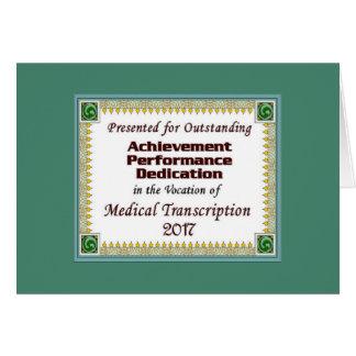 Logro médico 2017 de la transcripción tarjeta de felicitación