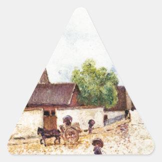 Loing en Moret en la lluvia de Alfred Sisley Pegatina Triangular