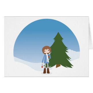 Lola adorna el árbol de navidad tarjeta de felicitación
