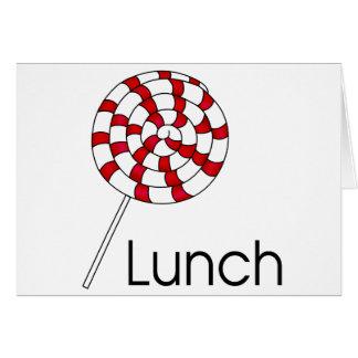 Lollipop del almuerzo tarjeta de felicitación