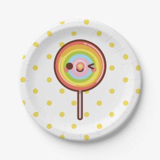 Lollipop lindo estupendo del arco iris del kawaii plato de papel
