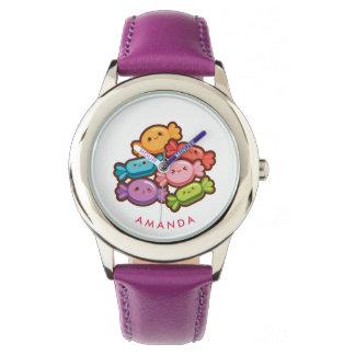 Lollipop lindo estupendo del arco iris del kawaii reloj
