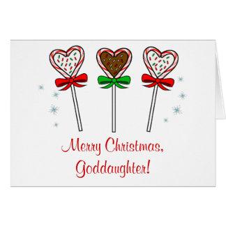 Lollipops del chocolate de la ahijada tres del tarjeta de felicitación