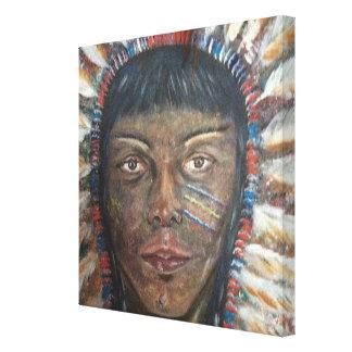 lona 12x12: Indio del nativo americano Lienzo Envuelto Para Galerias