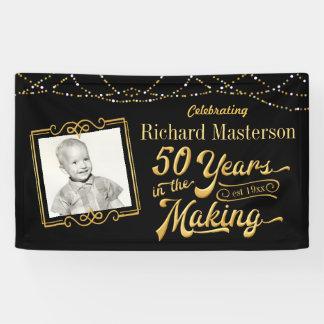 Lona 50 años en el cumpleaños de la fabricación, negro