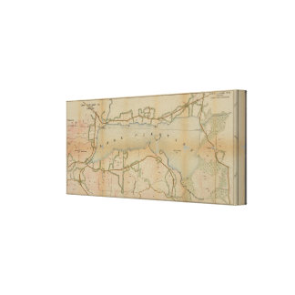 Lona agradable del mapa del vintage de Nueva York Lienzo