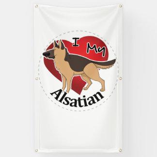 Lona Amo mi perro Alsatian divertido y lindo adorable