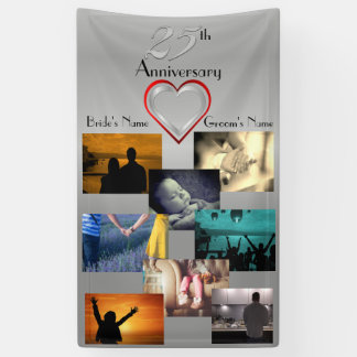 Lona Aniversario de boda del collage de la foto 25to